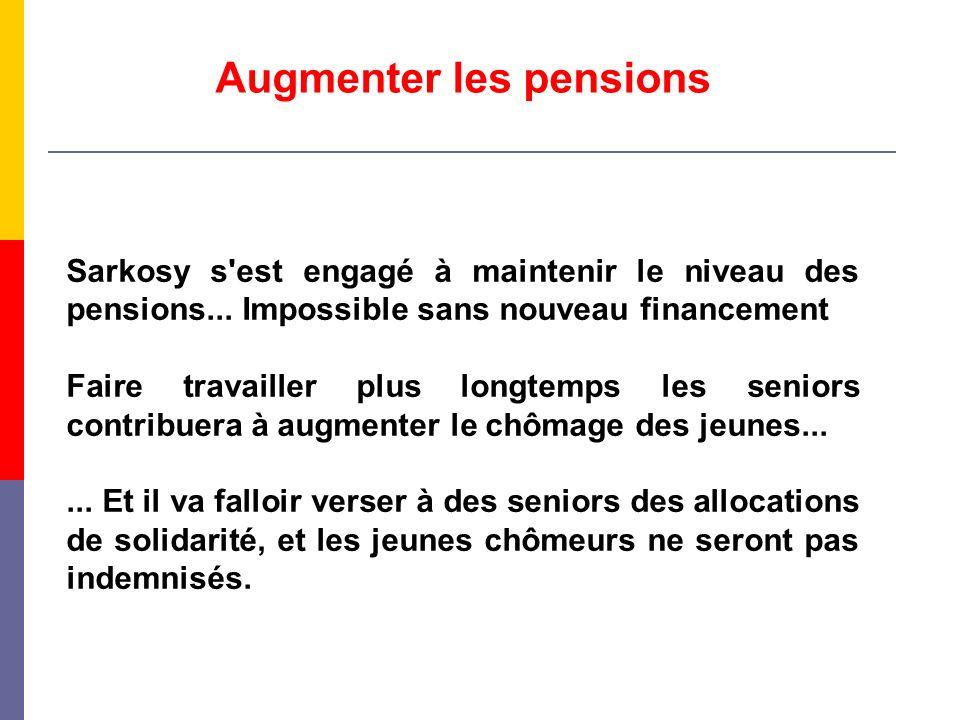 Augmenter les pensions Sarkosy s'est engagé à maintenir le niveau des pensions... Impossible sans nouveau financement Faire travailler plus longtemps