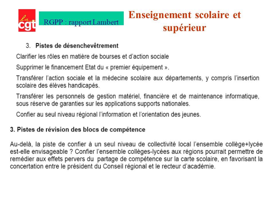 Enseignement scolaire et supérieur RGPP : rapport Lambert