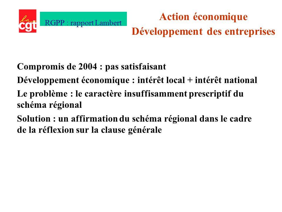 Compromis de 2004 : pas satisfaisant Développement économique : intérêt local + intérêt national Le problème : le caractère insuffisamment prescriptif du schéma régional Solution : un affirmation du schéma régional dans le cadre de la réflexion sur la clause générale Action économique Développement des entreprises RGPP : rapport Lambert