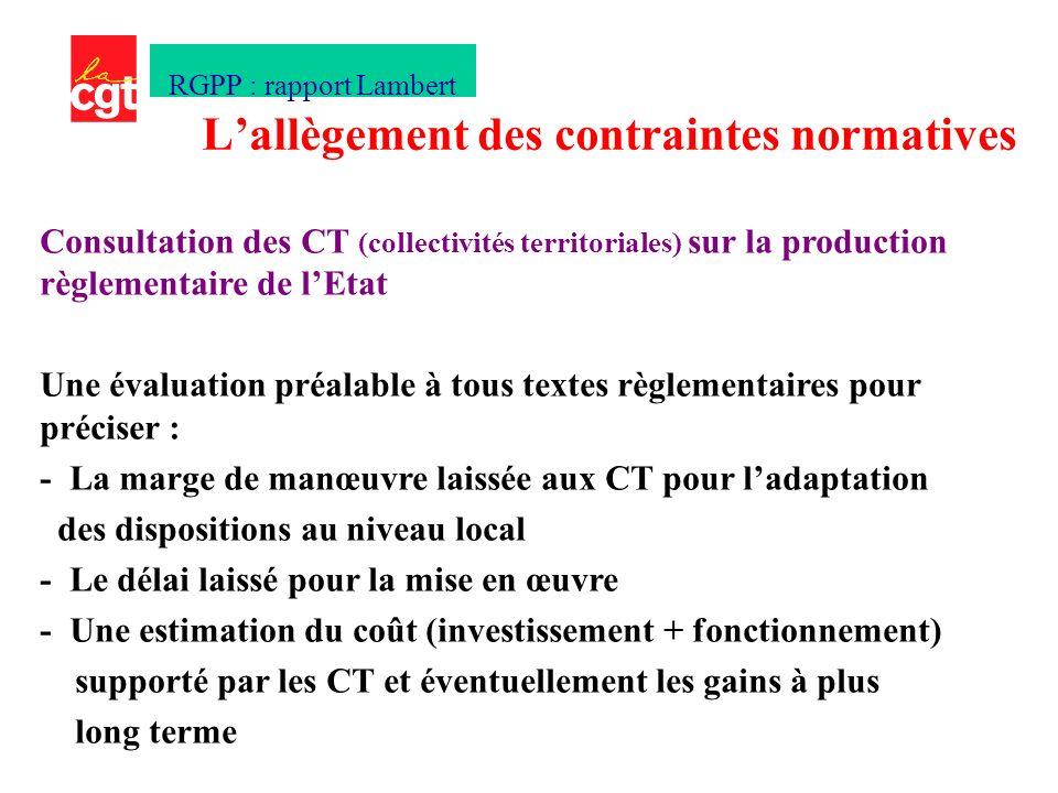 Consultation des CT (collectivités territoriales) sur la production règlementaire de lEtat Une évaluation préalable à tous textes règlementaires pour préciser : - La marge de manœuvre laissée aux CT pour ladaptation des dispositions au niveau local - Le délai laissé pour la mise en œuvre - Une estimation du coût (investissement + fonctionnement) supporté par les CT et éventuellement les gains à plus long terme Lallègement des contraintes normatives RGPP : rapport Lambert