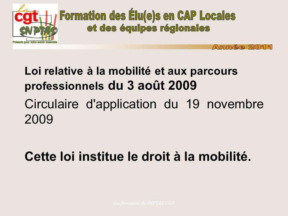 Les formation du SNPTAS-CGT Loi relative à la mobilité et aux parcours professionnels du 3 août 2009 Circulaire d'application du 19 novembre 2009 Cett