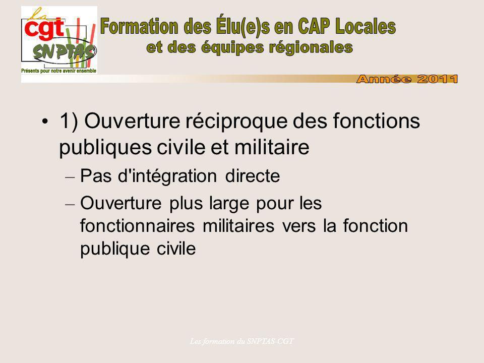 Les formation du SNPTAS-CGT 1) Ouverture réciproque des fonctions publiques civile et militaire – Pas d'intégration directe – Ouverture plus large pou