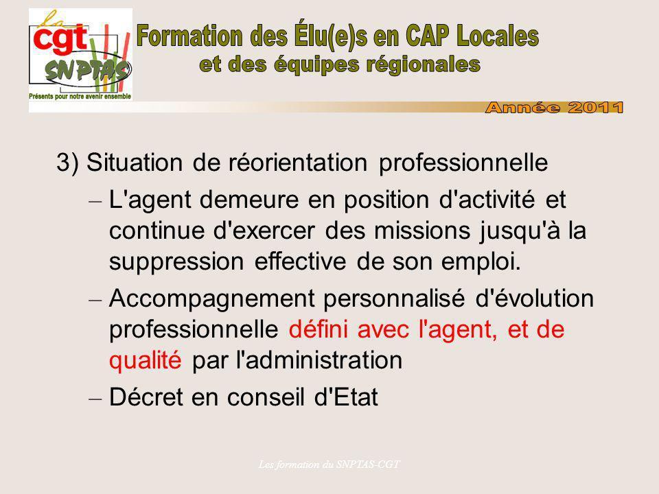 Les formation du SNPTAS-CGT 3) Situation de réorientation professionnelle – L'agent demeure en position d'activité et continue d'exercer des missions