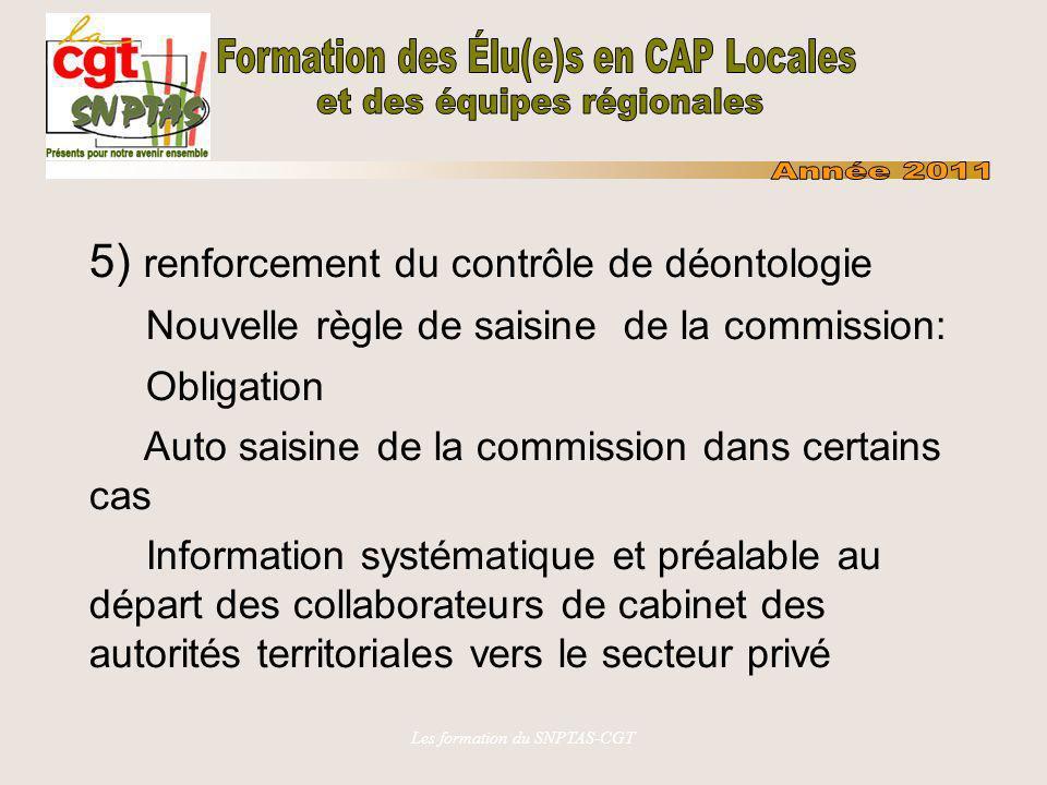 Les formation du SNPTAS-CGT 5) renforcement du contrôle de déontologie Nouvelle règle de saisine de la commission: Obligation Auto saisine de la commi