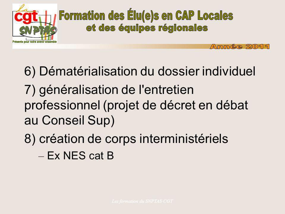 Les formation du SNPTAS-CGT 6) Dématérialisation du dossier individuel 7) généralisation de l'entretien professionnel (projet de décret en débat au Co