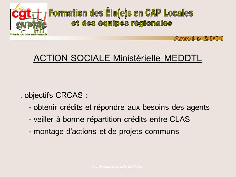 Les formation du SNPTAS-CGT ACTION SOCIALE Ministérielle MEDDTL.