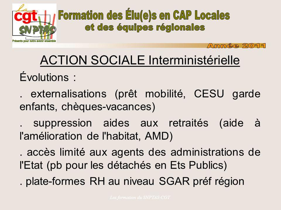 Les formation du SNPTAS-CGT ACTION SOCIALE Ministérielle MEDDTL Action sociale individuelle Action sociale collective Service social CCAS (ministère), CLAS (service) et nouvelles CRCAS (com rég concertation action sociale auprès du RBOP - DREAL)