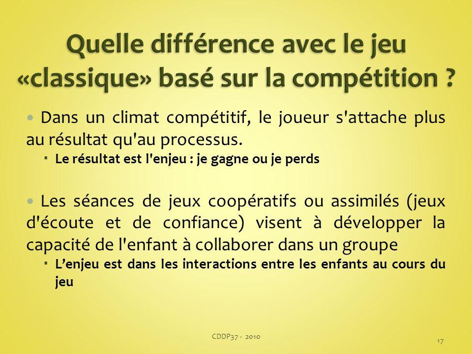 Dans un climat compétitif, le joueur s'attache plus au résultat qu'au processus. Le résultat est l'enjeu : je gagne ou je perds Les séances de jeux co