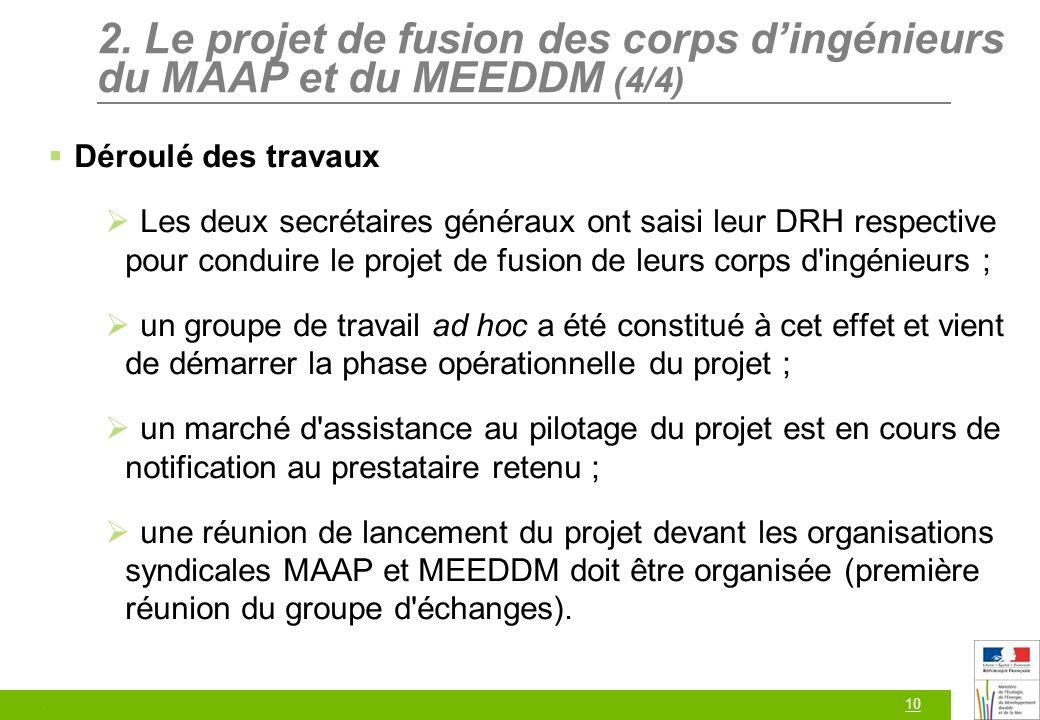 10 2. Le projet de fusion des corps dingénieurs du MAAP et du MEEDDM (4/4) Déroulé des travaux Les deux secrétaires généraux ont saisi leur DRH respec