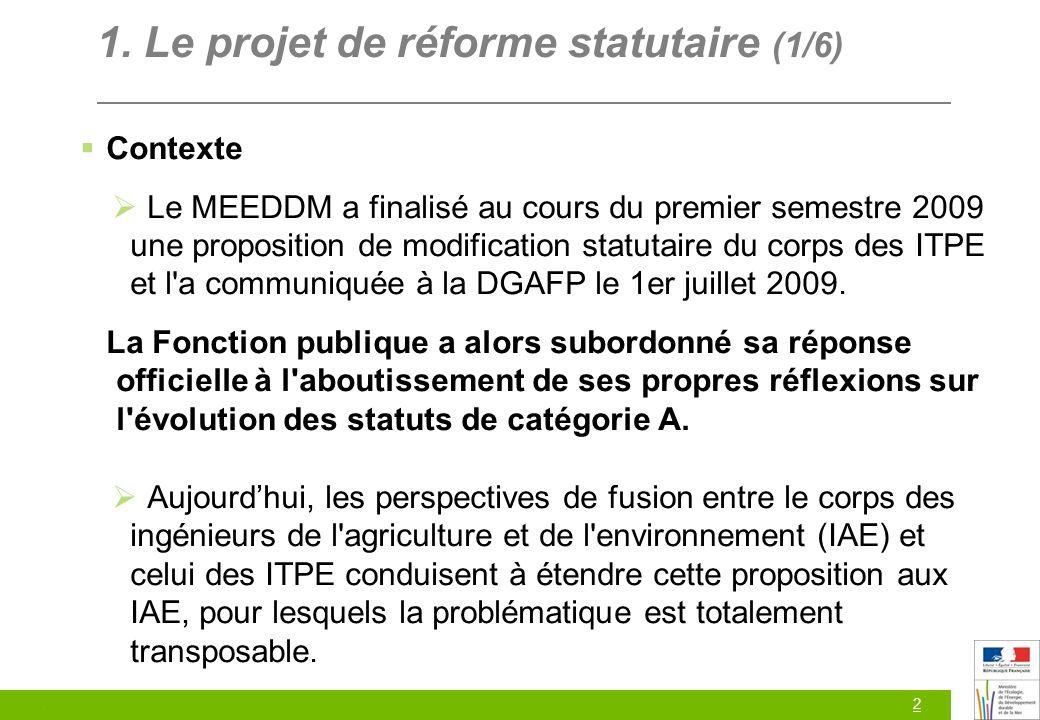 2 1. Le projet de réforme statutaire (1/6) Contexte Le MEEDDM a finalisé au cours du premier semestre 2009 une proposition de modification statutaire