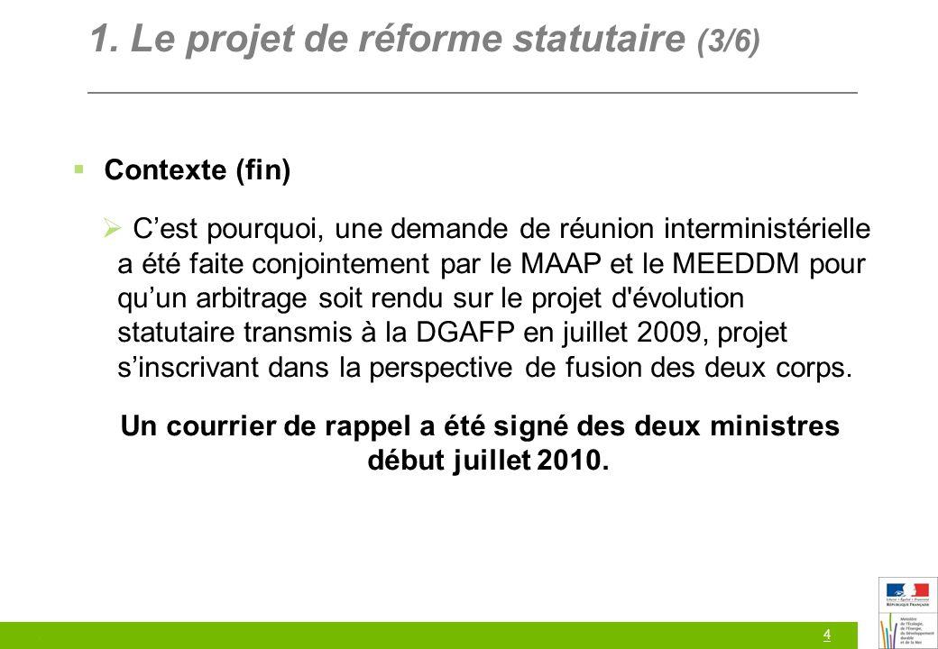4 1. Le projet de réforme statutaire (3/6) Contexte (fin) Cest pourquoi, une demande de réunion interministérielle a été faite conjointement par le MA