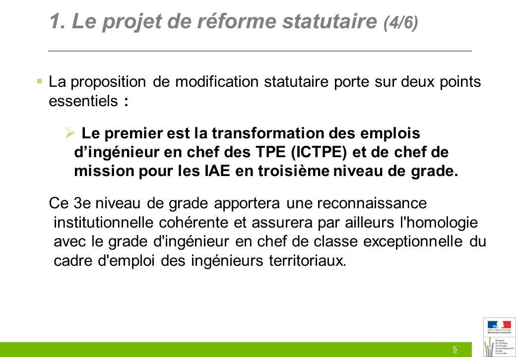 5 1. Le projet de réforme statutaire (4/6) La proposition de modification statutaire porte sur deux points essentiels : Le premier est la transformati