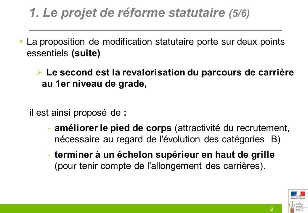 6 1. Le projet de réforme statutaire (5/6) La proposition de modification statutaire porte sur deux points essentiels (suite) Le second est la revalor