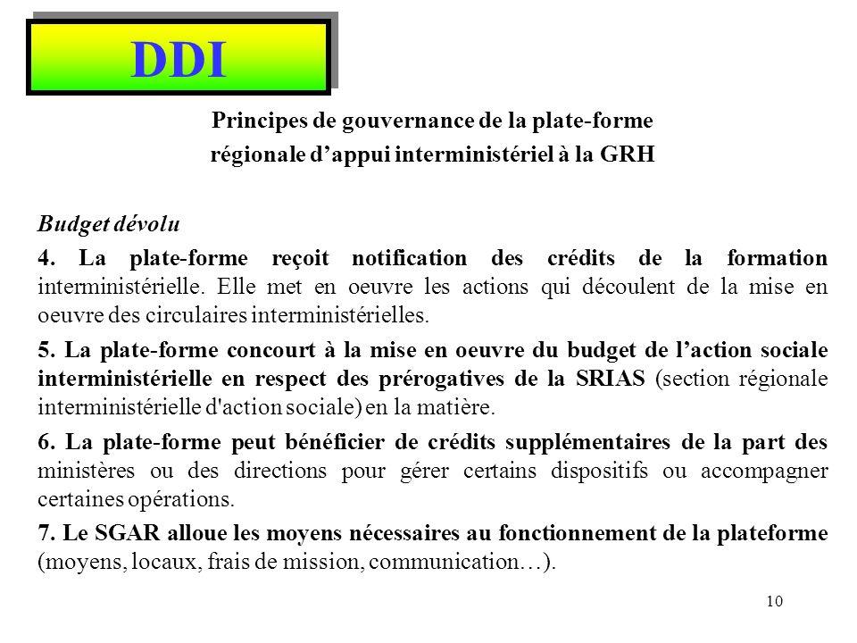 DDI Principes de gouvernance de la plate-forme régionale dappui interministériel à la GRH Offre de service 8.