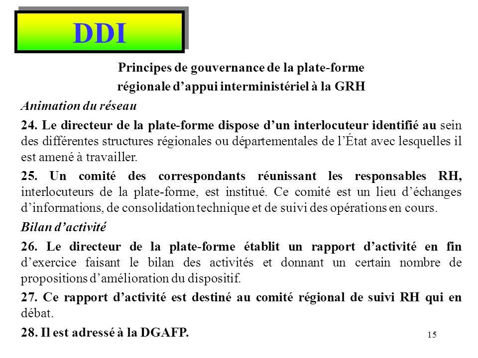 DDI Principes de gouvernance de la plate-forme régionale dappui interministériel à la GRH Animation du réseau 24. Le directeur de la plate-forme dispo