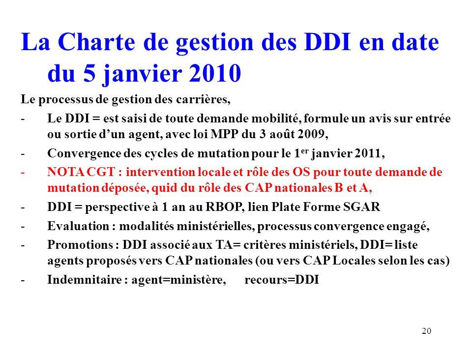 La Charte de gestion des DDI en date du 5 janvier 2010 – 3 ème Partie Dialogue de gestion restitutions budgétaires -Le DDI = dispose des moyens nécessaires, -DDI dialogue unique RBOP (Responsable Budget Opérationnel de Programme) -Préfet de région=garant adéquation missions/moyens -Conférence multi BOP entre RBOP, -DDI = UO (Unités Opérationnelles) des BOP, -Instance de pilotage placée sous autorité du Premier Ministre 21