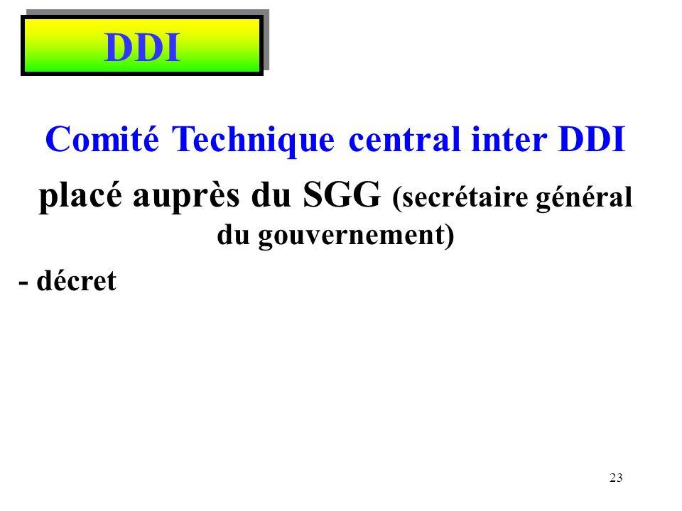DDI Comité Technique central inter DDI placé auprès du SGG (secrétaire général du gouvernement) - décret 23