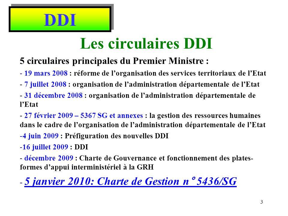 DDI Grandes règles à retenir Directions Départementales Interministérielles placées sous lautorité directe des préfets de département Personnels des nouvelles DDI restent gérés par leur ministère dorigine – MEDDTL, MAAPRAT, MEIE, etc.