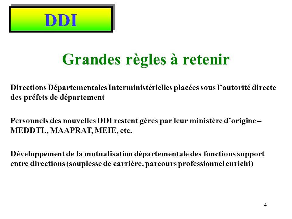 DDI Compétences du Préfet de Département Compétence générale, exclusive dans les domaines de la sécurité, de lordre public, du droit des étrangers.