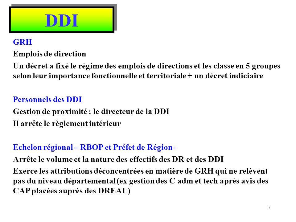 DDI Plate forme régionale dappui à la GRH Charte de gouvernance et de fonctionnement des plates-formes régionales dappui interministériel à la GRH de décembre 2009 Placée au sein du SGAR (secrétariat général aux affaires régionales) placé auprès du Préfet de Région pour : - Elaborer un plan régional de Gestion Prévisionnelle RH et aider à lélaboration de plans départementaux et apporter un appui à la mobilité - Mettre en commun linformation sur les postes à pourvoir (bourses régionales interministérielles demplois publics - BRIEP) - Construire une offre de formation interministérielle sinscrivant dans un plan régional de formation - Proposer la mise en commun des moyens en matière daction sociale et de médecine de prévention - Développer les mutualisations des fonctions support en GRH (ex.