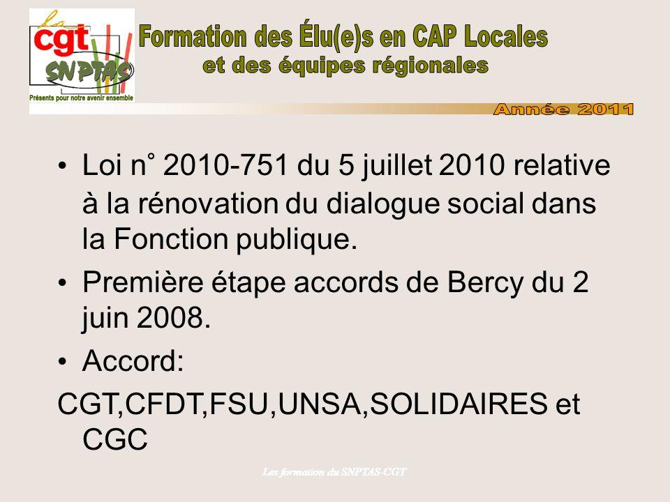 Les formation du SNPTAS-CGT Loi n° 2010-751 du 5 juillet 2010 relative à la rénovation du dialogue social dans la Fonction publique. Première étape ac