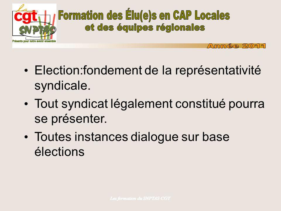 Les formation du SNPTAS-CGT Election:fondement de la représentativité syndicale.