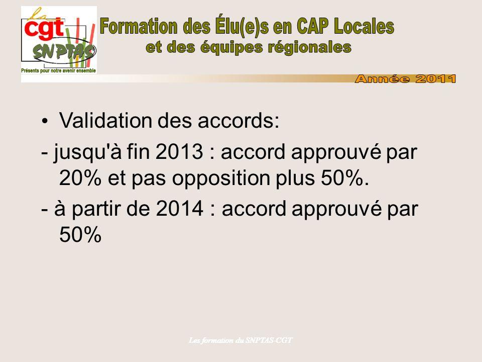 Les formation du SNPTAS-CGT Validation des accords: - jusqu'à fin 2013 : accord approuvé par 20% et pas opposition plus 50%. - à partir de 2014 : acco