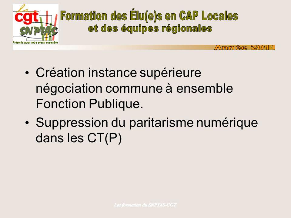 Les formation du SNPTAS-CGT Création instance supérieure négociation commune à ensemble Fonction Publique. Suppression du paritarisme numérique dans l