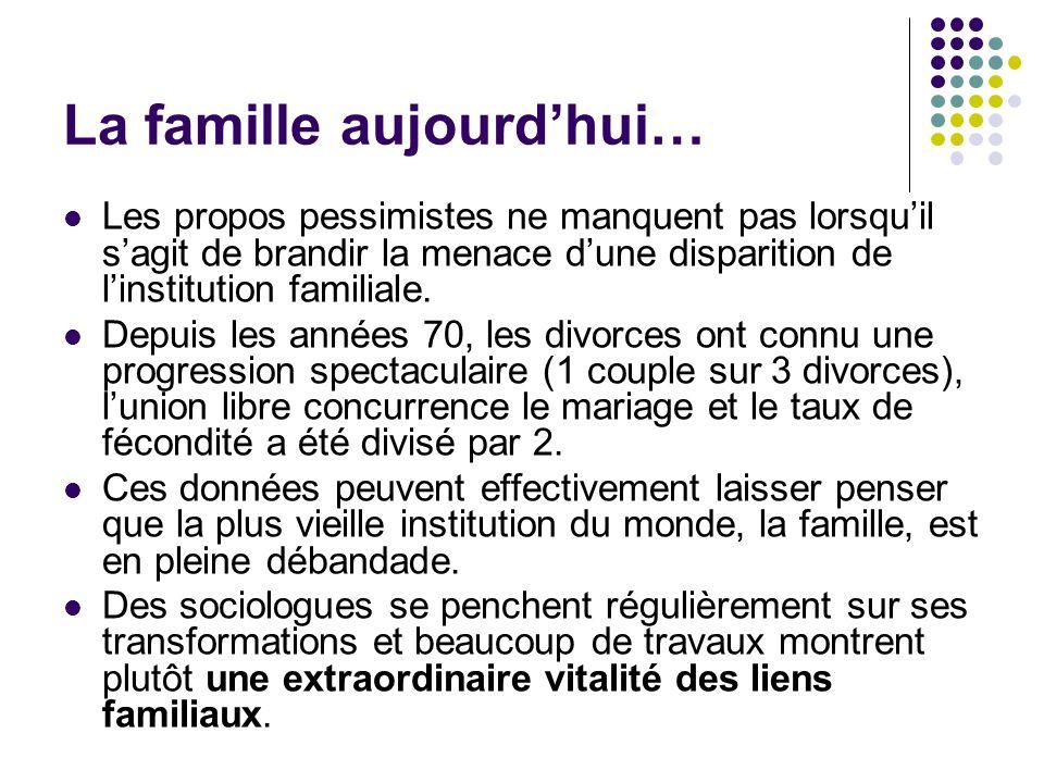 La famille aujourdhui… Les propos pessimistes ne manquent pas lorsquil sagit de brandir la menace dune disparition de linstitution familiale. Depuis l