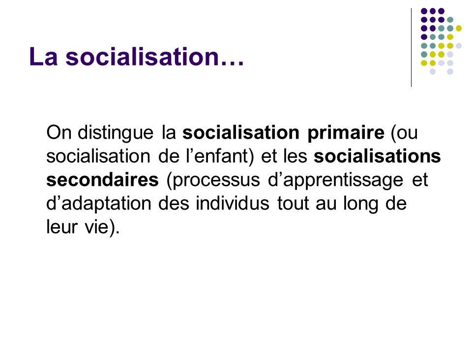 La socialisation… On distingue la socialisation primaire (ou socialisation de lenfant) et les socialisations secondaires (processus dapprentissage et