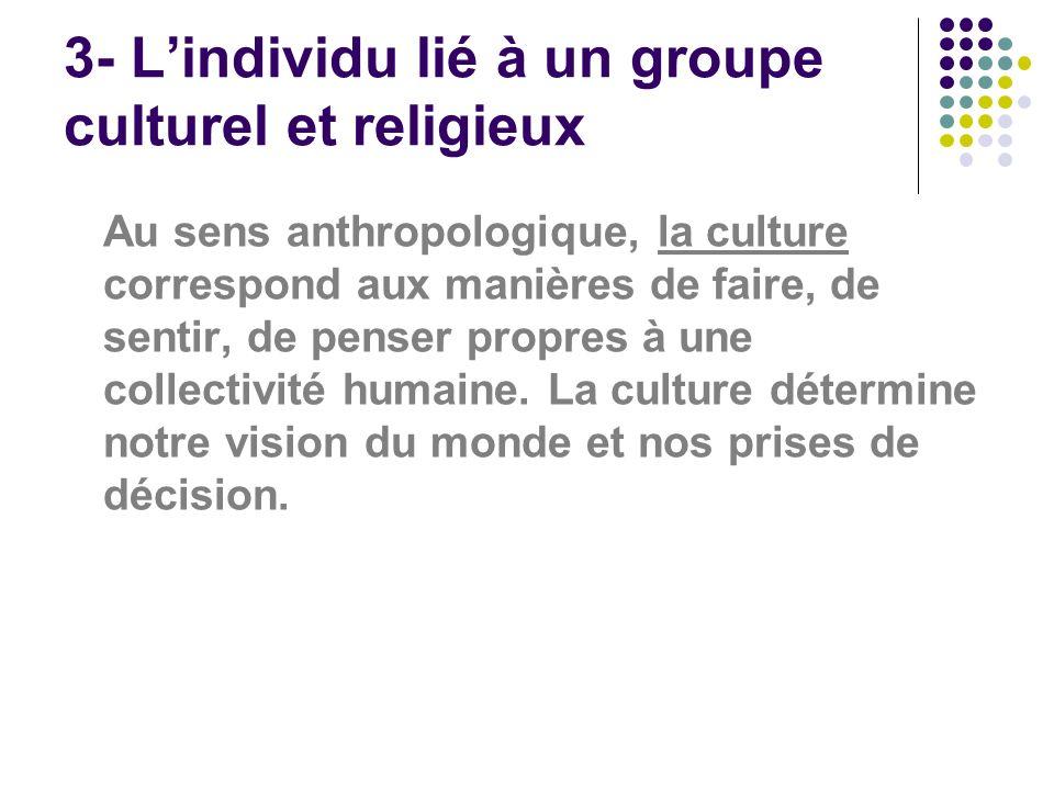 3- Lindividu lié à un groupe culturel et religieux Au sens anthropologique, la culture correspond aux manières de faire, de sentir, de penser propres