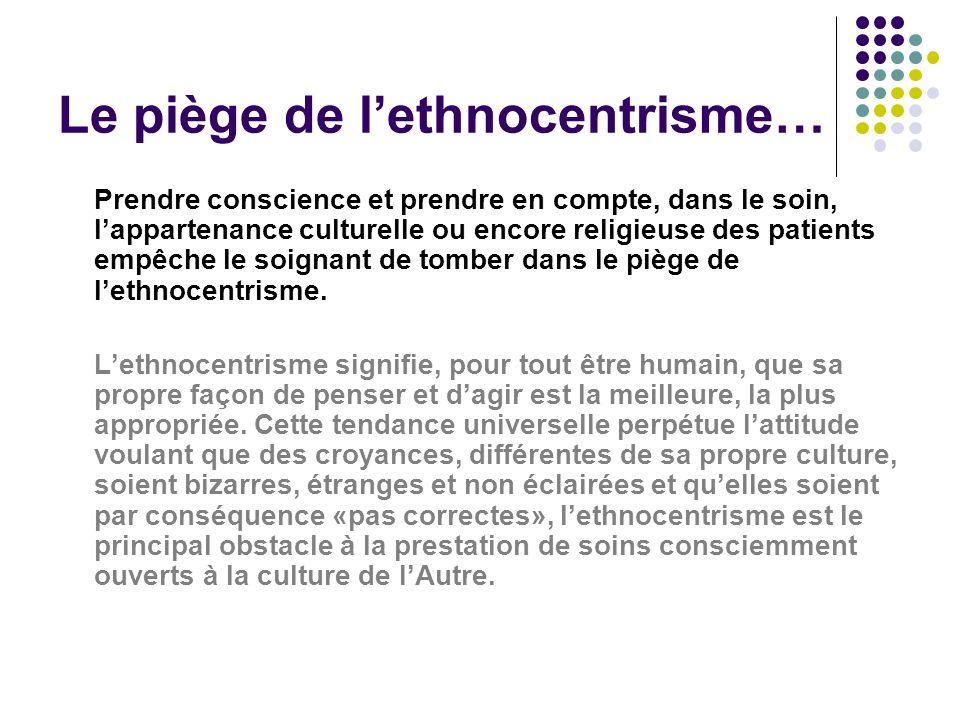Le piège de lethnocentrisme… Prendre conscience et prendre en compte, dans le soin, lappartenance culturelle ou encore religieuse des patients empêche