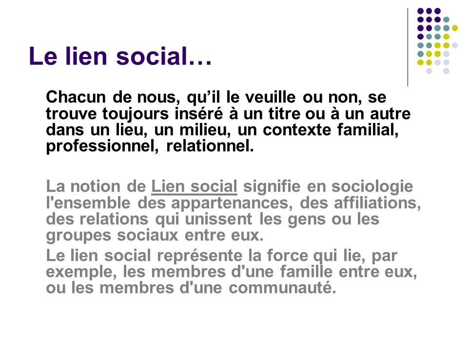 Le lien social… Chacun de nous, quil le veuille ou non, se trouve toujours inséré à un titre ou à un autre dans un lieu, un milieu, un contexte famili