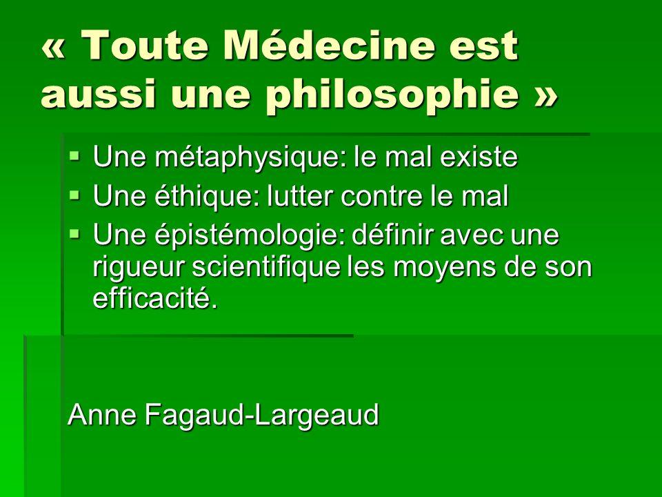 « Toute Médecine est aussi une philosophie » Une métaphysique: le mal existe Une métaphysique: le mal existe Une éthique: lutter contre le mal Une éth