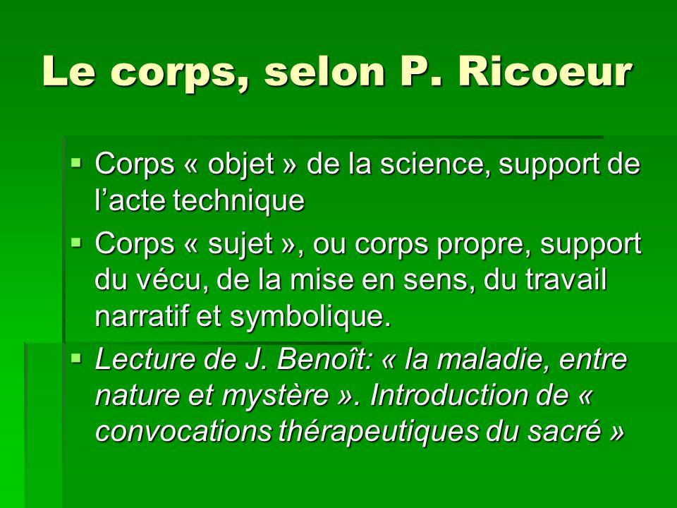 Le corps, selon P. Ricoeur Corps « objet » de la science, support de lacte technique Corps « objet » de la science, support de lacte technique Corps «