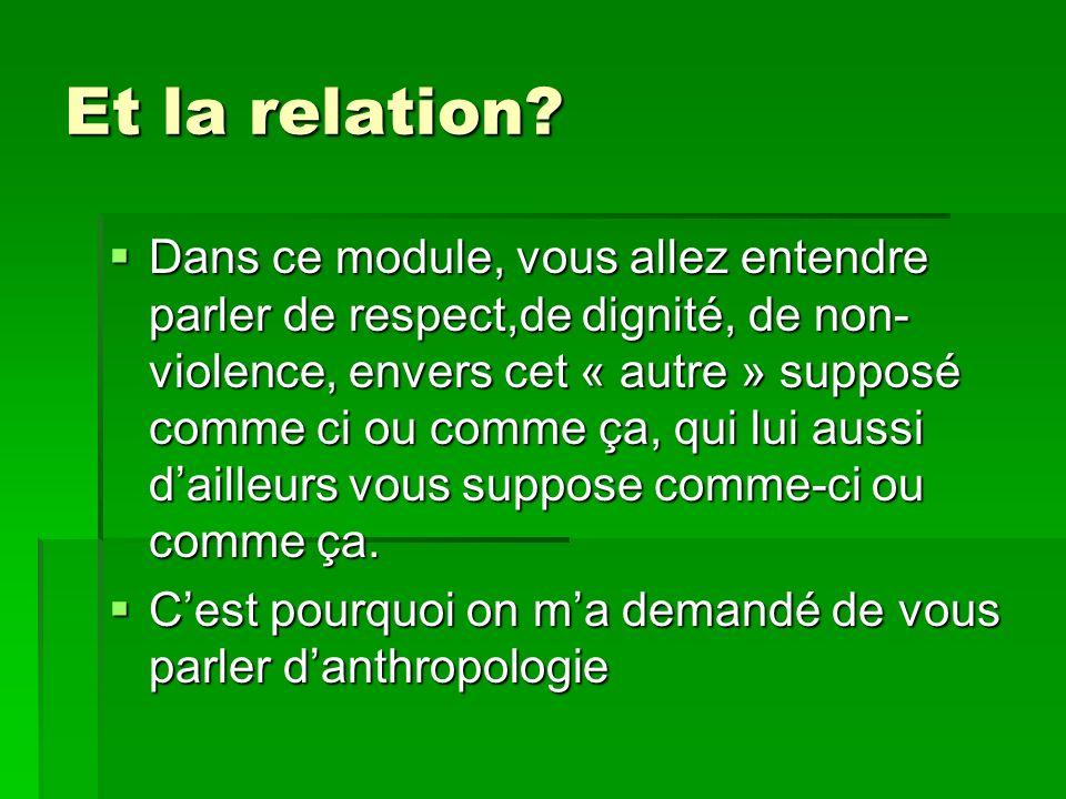 Et la relation? Dans ce module, vous allez entendre parler de respect,de dignité, de non- violence, envers cet « autre » supposé comme ci ou comme ça,