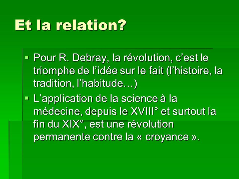 Et la relation? Pour R. Debray, la révolution, cest le triomphe de lidée sur le fait (lhistoire, la tradition, lhabitude…) Pour R. Debray, la révoluti