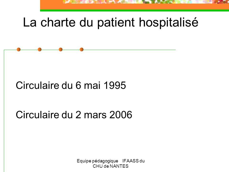 Equipe pédagogique IFAASS du CHU de NANTES La charte du patient hospitalisé Circulaire du 6 mai 1995 Circulaire du 2 mars 2006