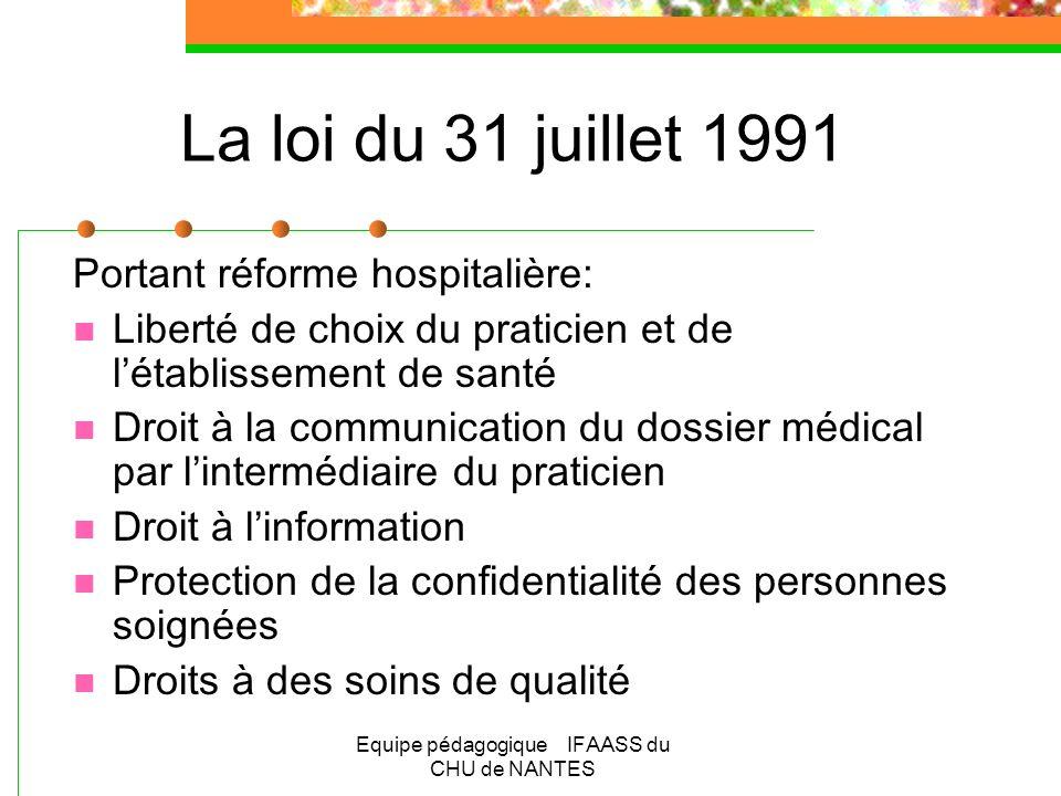 Equipe pédagogique IFAASS du CHU de NANTES La loi du 31 juillet 1991 Portant réforme hospitalière: Liberté de choix du praticien et de létablissement