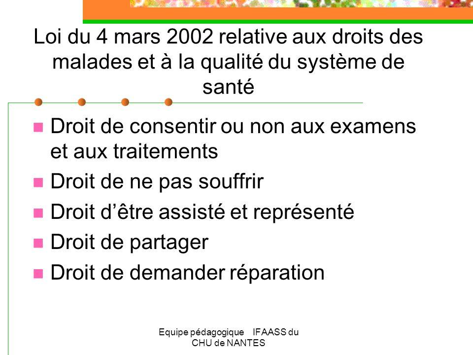 Equipe pédagogique IFAASS du CHU de NANTES Loi du 4 mars 2002 relative aux droits des malades et à la qualité du système de santé Droit de consentir o