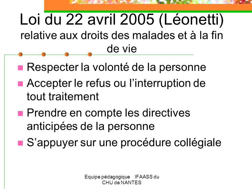 Equipe pédagogique IFAASS du CHU de NANTES Loi du 22 avril 2005 (Léonetti) relative aux droits des malades et à la fin de vie Respecter la volonté de