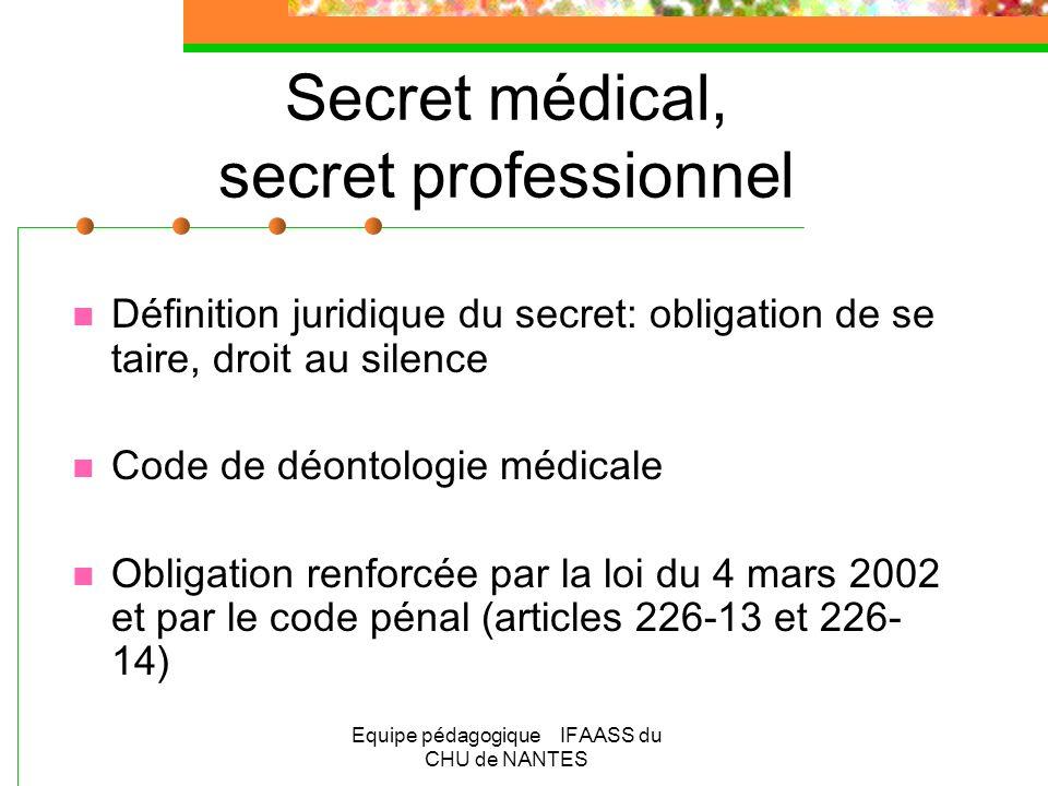 Equipe pédagogique IFAASS du CHU de NANTES Secret médical, secret professionnel Définition juridique du secret: obligation de se taire, droit au silen