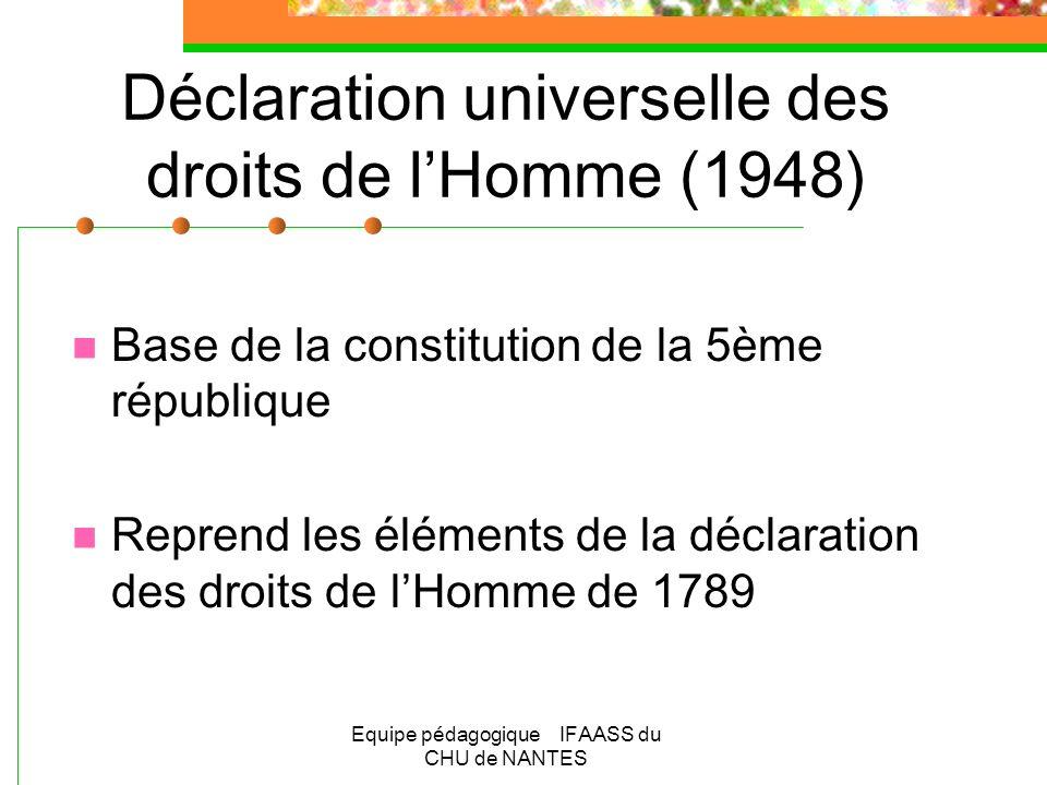 Equipe pédagogique IFAASS du CHU de NANTES Déclaration universelle des droits de lHomme (1948) Base de la constitution de la 5ème république Reprend l