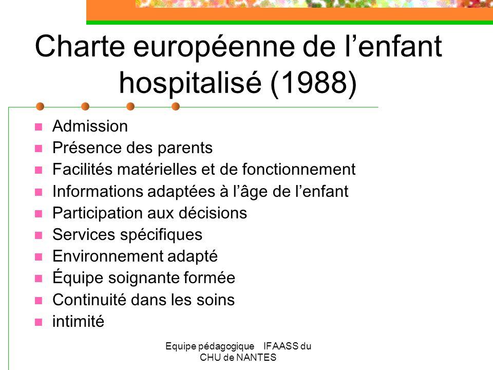 Equipe pédagogique IFAASS du CHU de NANTES Charte européenne de lenfant hospitalisé (1988) Admission Présence des parents Facilités matérielles et de