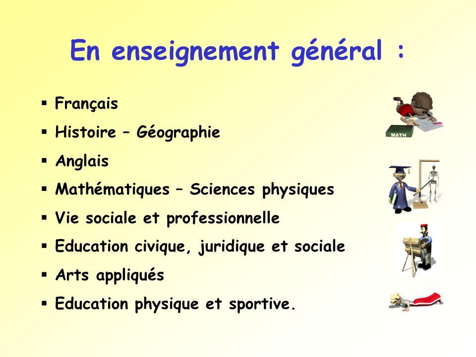 En enseignement général : Français Histoire – Géographie Anglais Mathématiques – Sciences physiques Vie sociale et professionnelle Education civique,