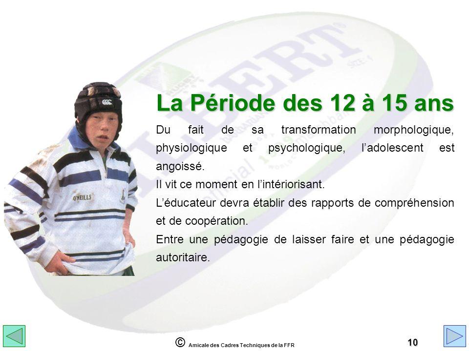 © Amicale des Cadres Techniques de la FFR 10 La Période des 12 à 15 ans Du fait de sa transformation morphologique, physiologique et psychologique, la