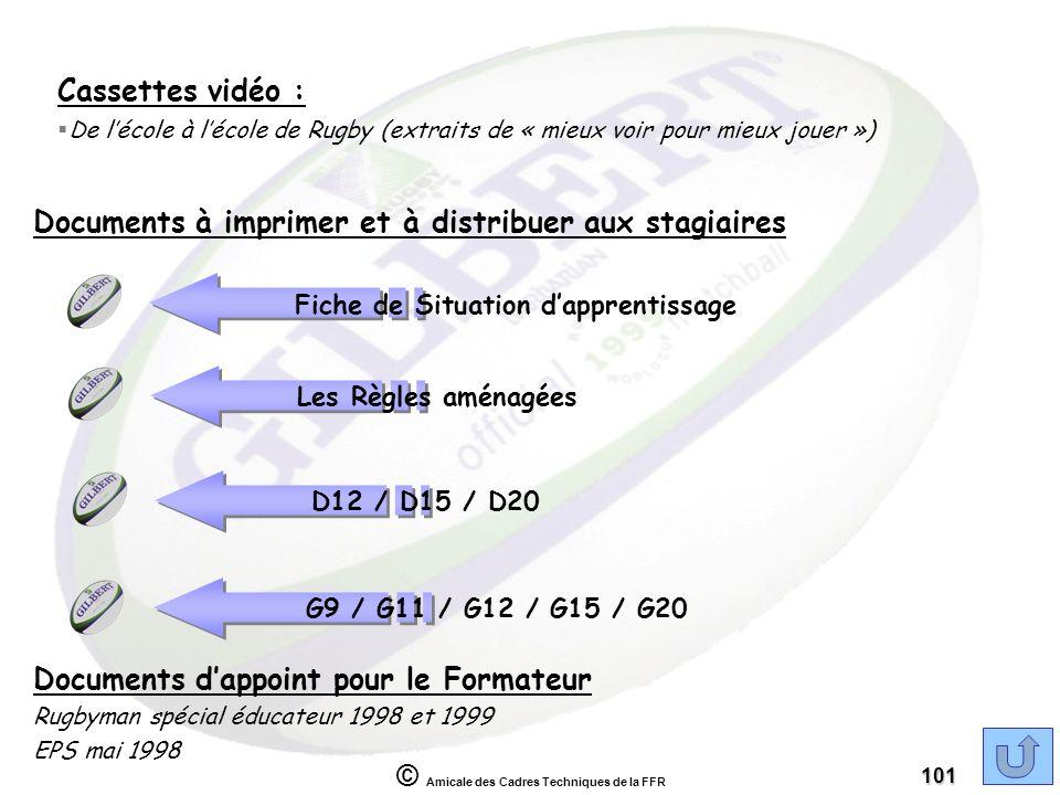 © Amicale des Cadres Techniques de la FFR 101 Cassettes vidéo : §De lécole à lécole de Rugby (extraits de « mieux voir pour mieux jouer ») Documents d