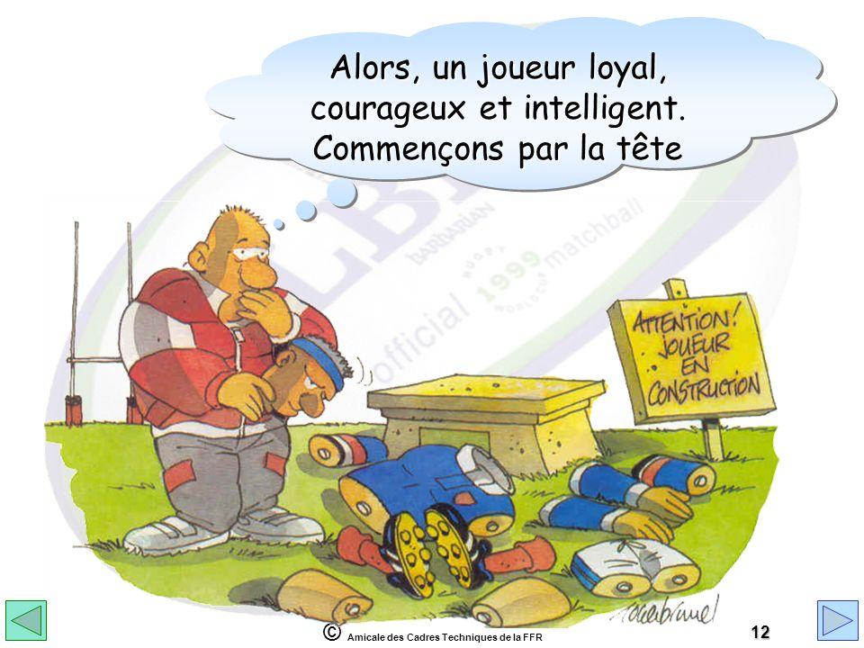 © Amicale des Cadres Techniques de la FFR 12 Alors, un joueur loyal, courageux et intelligent. Commençons par la tête Alors, un joueur loyal, courageu