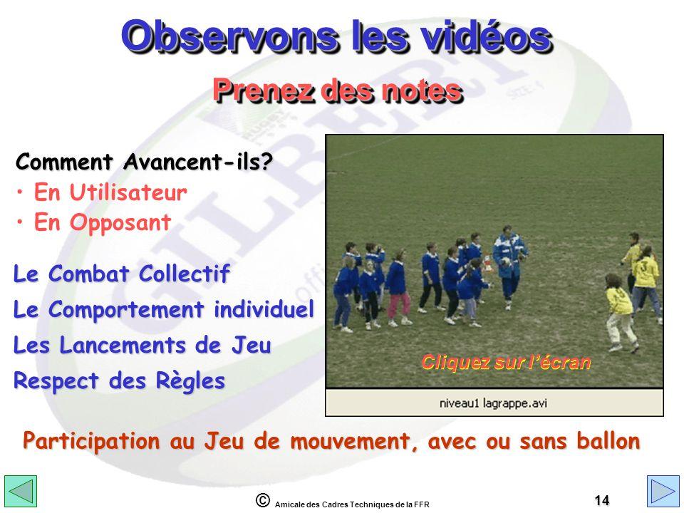 © Amicale des Cadres Techniques de la FFR 14 Observons les vidéos Comment Avancent-ils? En Utilisateur En Opposant Prenez des notes Le Combat Collecti
