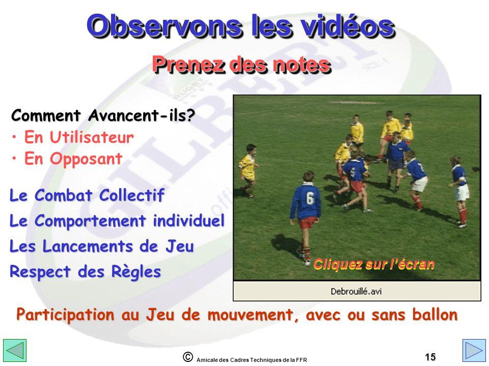 © Amicale des Cadres Techniques de la FFR 15 Observons les vidéos Comment Avancent-ils? En Utilisateur En Opposant Prenez des notes Le Combat Collecti